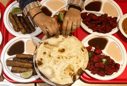 Seekh Kabobs, Chicken 65, and Naan