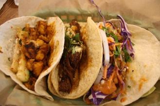 Chicken Tikka Masala Taco, Brisket Taco, Grilled Tilapia Taco